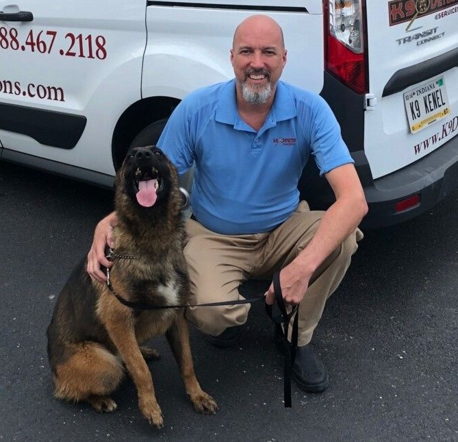 Geiger (a German Shepard) and his owner, Jim